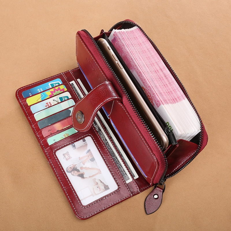 Hot Leather Ladies Long Wallet Two Fold Women 39 s Zipper Retro Oil Wax Leather Wallet Retro in Wallets from Luggage amp Bags