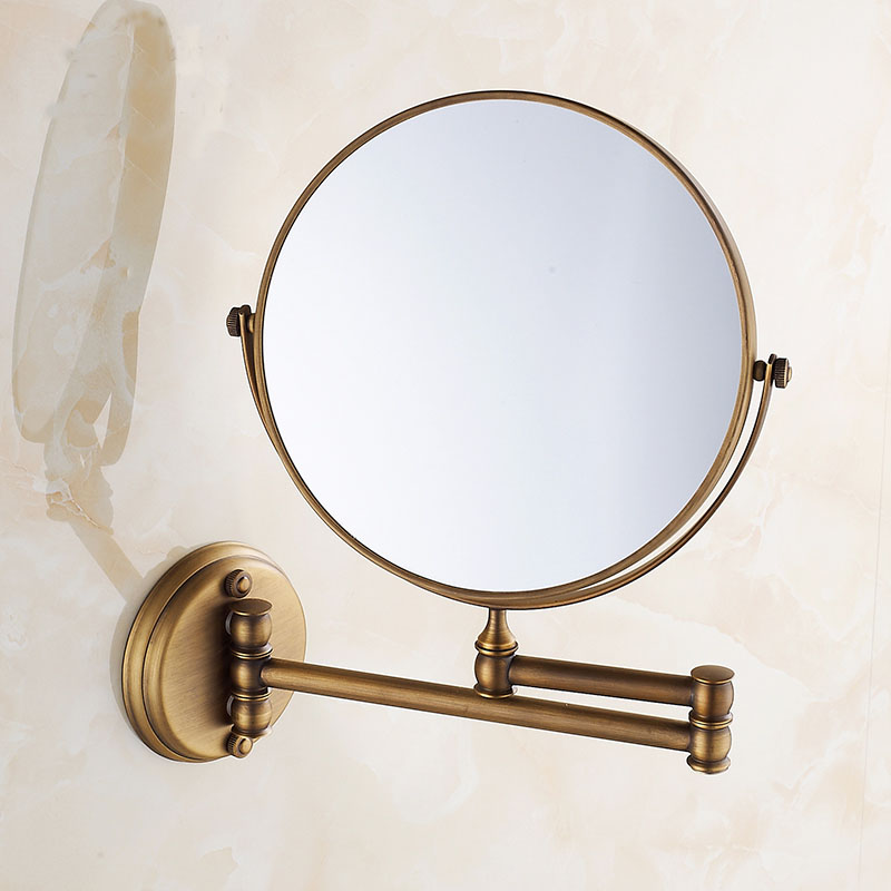 Make up mirror copper cosmetic mirror wall mounted, Antique bathroom/bedroom double sided mirror beauty mirror, Free shipping