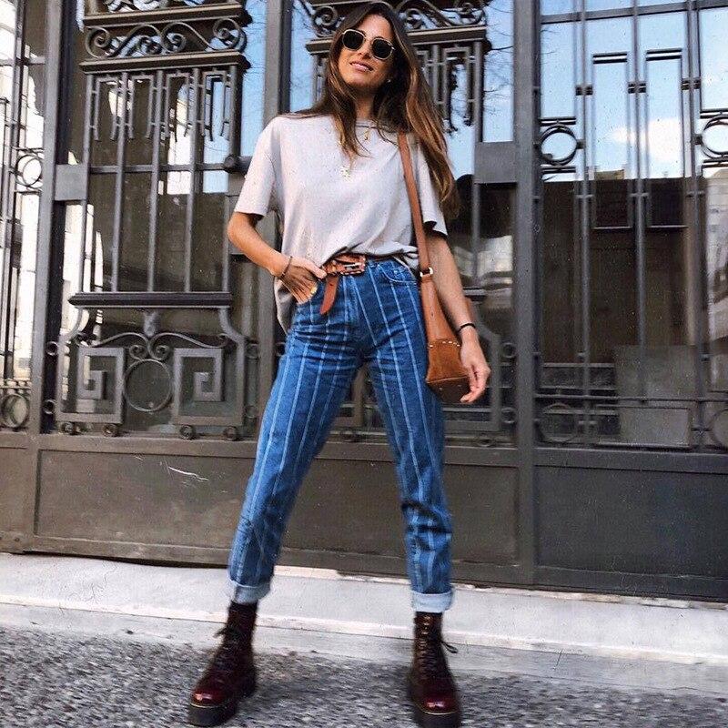 2019 High Waist Stripe Jeans Women Leisure Pencil Pants Pinstripe Female Denim Trousers Capries Boyfriend Streetwear Bottom Slim