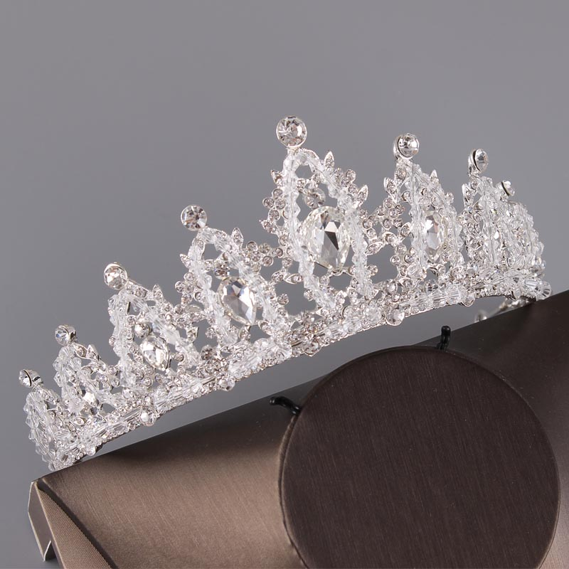 Crystal Wedding Tiara Set For Brides Hair Accessories Bridal Crown Headband Hairband Headpiece Head Piece Jewelry Queen Crown