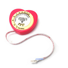 Розовый цвет в форме сердца Рулетка Индекс Массы сантиметровая лента-рулетка и калькулятор для Диета похудение