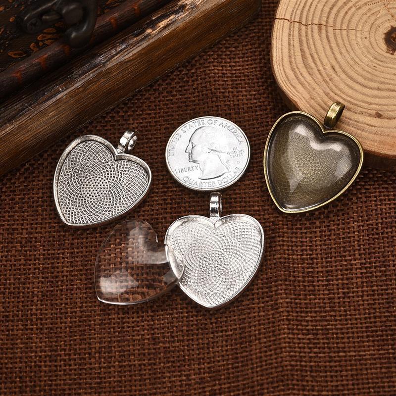 50pcs Pendant Trays Cabochon Base Setting DIY Jewelry Findings Love Heart