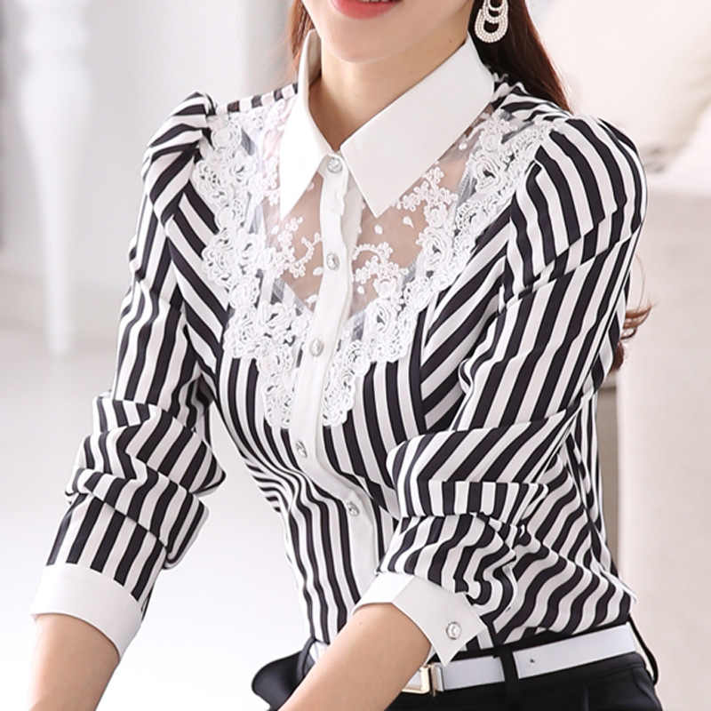 Baru Wanita Renda Disambung Bordir Ol Blus Atasan Feminin Kemeja Slim Korea Fashion Stripe Tops Plus Ukuran 4XL
