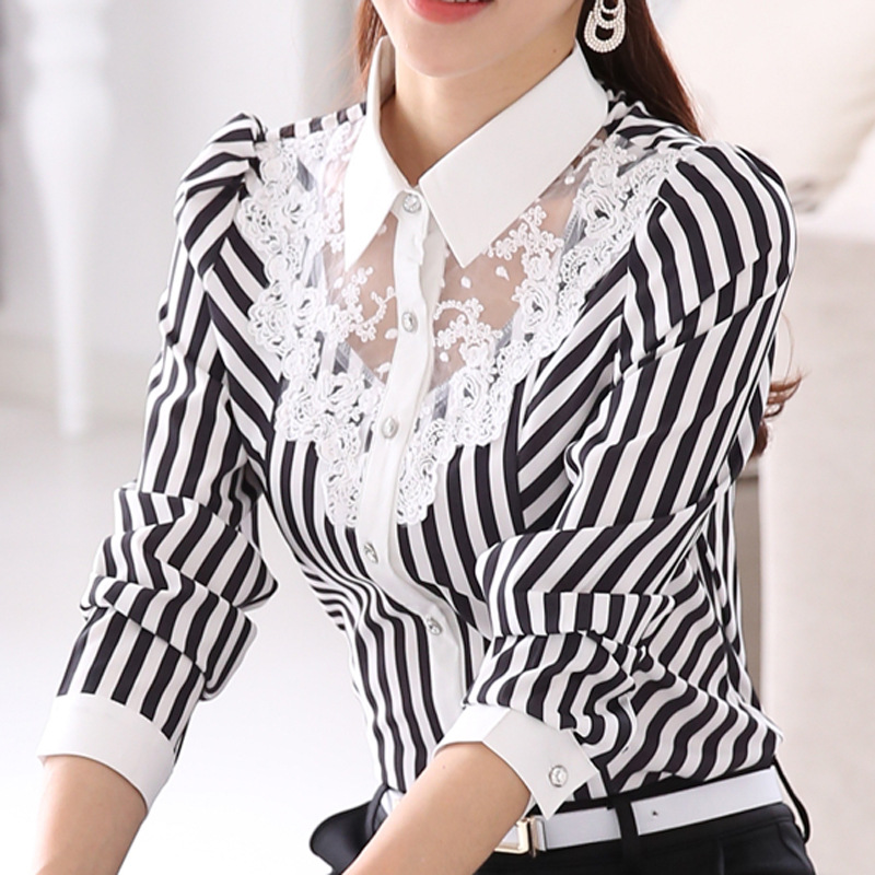 New Women Lace Spliced Embroidery OL   Blouses   Tops Feminine Slim   Shirt   Korean Fashion Stripe Tops Plus Size 4XL