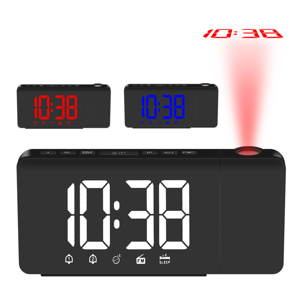 Digital Radio Alarm Clock Projection Snooze Timer Temperature LED Display USB Charge Cable Table Wall FM Radio Clock