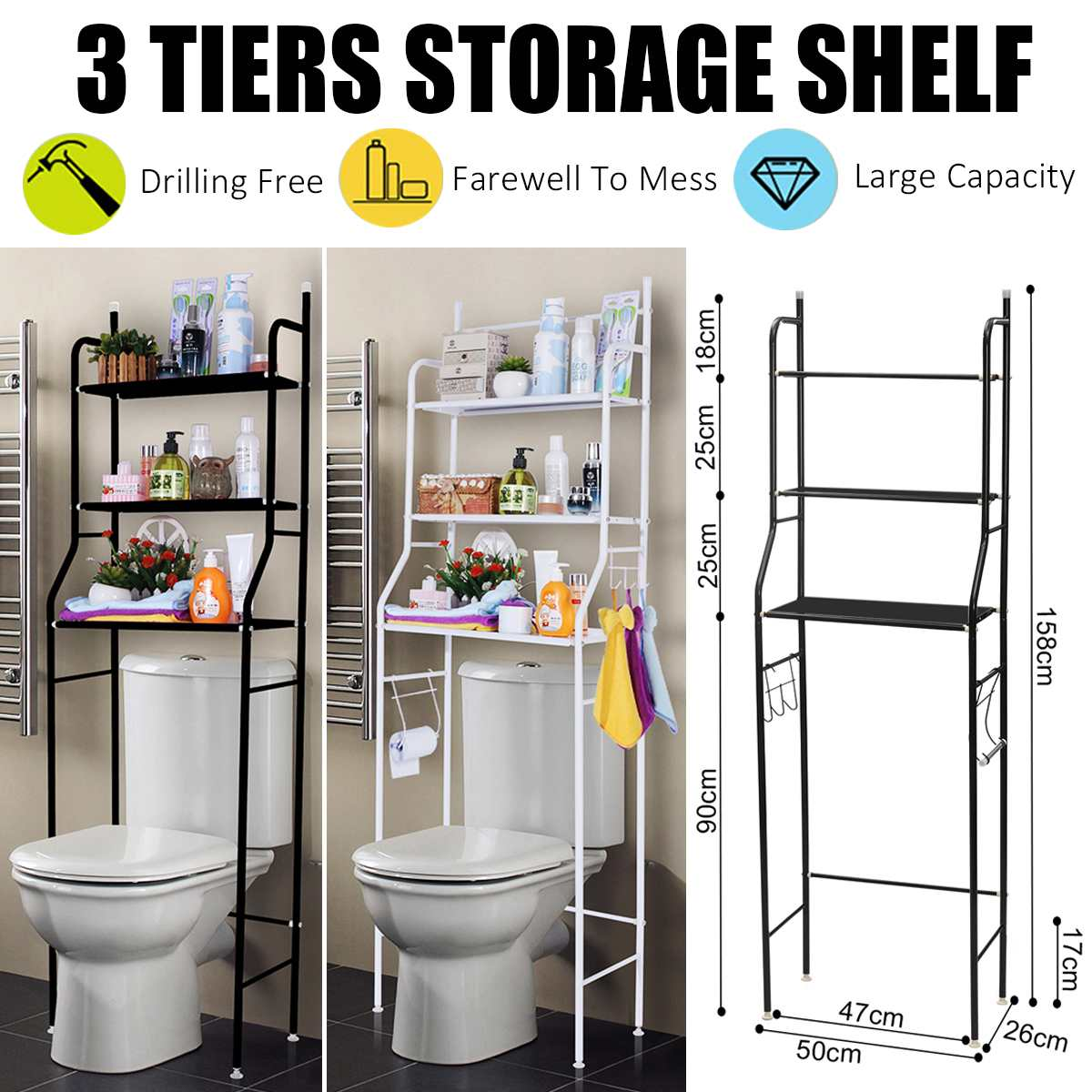 3 Tier Shelf Over Home Kitchen Bathroom Storage Rack Multifunction Toiletries Shelves for Bathroom Organizer Accessories necklace
