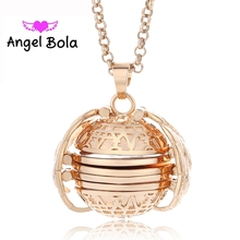 AB Magic Photo Pendant Memory Floating Locket Necklace Plated Angel Wings Flash Box Fashion Album Box Necklaces for Women(China)