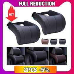 1 PCS Couro PU Assento de Carro Auto Pescoço Travesseiro Travesseiros de Espuma de Memória Pescoço Rest Almofada Encosto de Cabeça Almofada 3 Cores de Alta qualidade