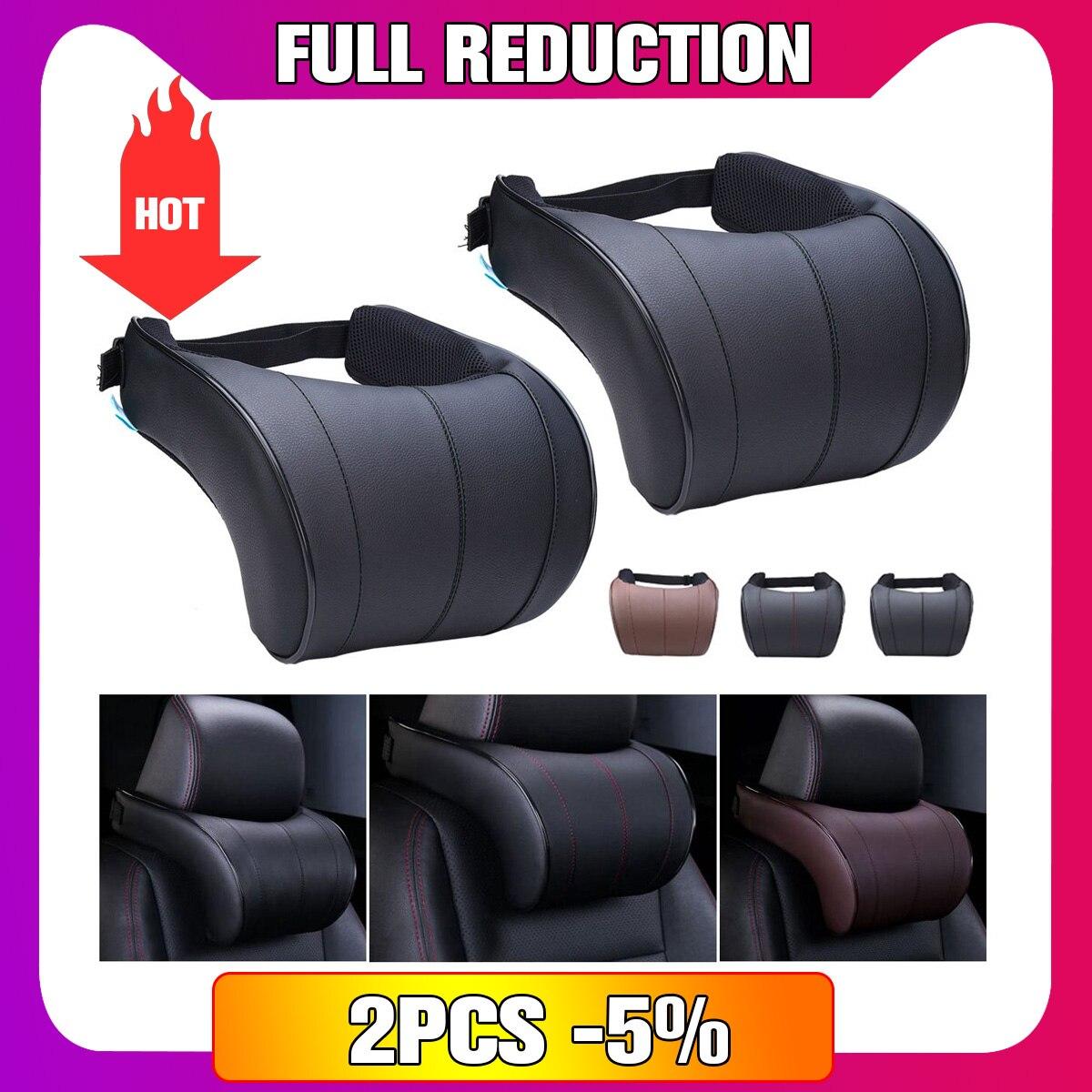 1 piezas de cuero de la PU de Auto cuello almohada almohadas de espuma de memoria cuello reposacabezas del asiento cojín 3 colores alta calidad