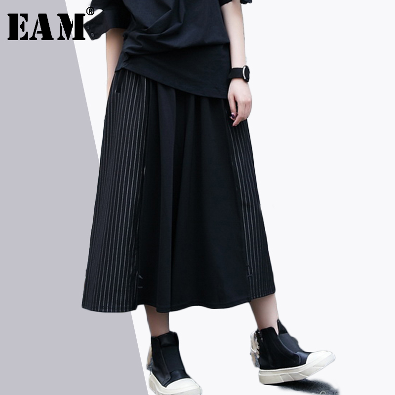 [EAM] 2019 Spring New Fashion Black Side Striped Stitch Button Fold Loose Big Size Women   Wide     Leg     Pants   RA485