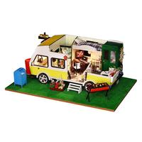 1/24 DIY Dollhouse Handcraft Miniature Wooden Camping Car Model Educational Toys Birthday Gift for Children Toddler Kids