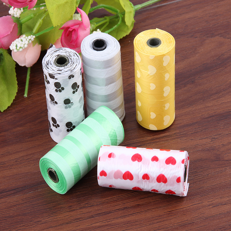 5 Rolls /10 75/150 pcs Degradable Pet Dog Waste Poop Bag With Printing Doggy Clean Bags Multi Color