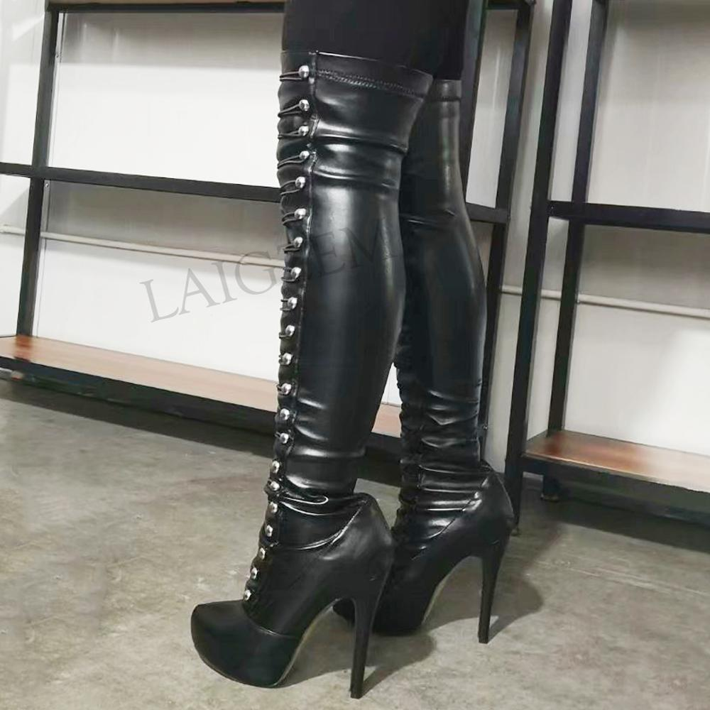 LAIGZEM SUPER Women Long Boots Stiletto High Heels Boots Faux Leather Knee High/ Over Knee Boots Botines Mujer Big Size 34-52