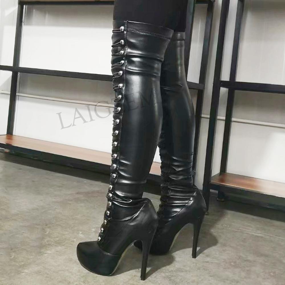 LAIGZEM SUPER femmes bottes longues talons aiguilles bottes Faux cuir genou haut/sur genou bottes Botines Mujer grande taille 34-52