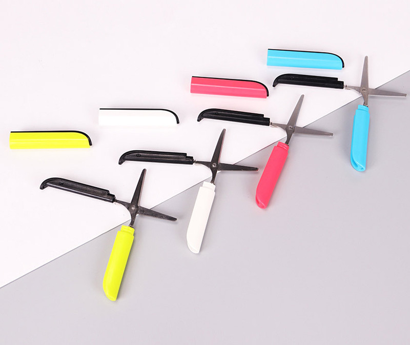 Scissor Student Paper Cut Office Diy School Home Art Child Preschool Photo Safe Kid Fold Stationery Blunt Tip Protect Portable Scissors