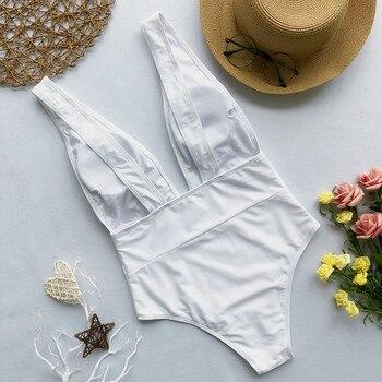 White swimsuit women Push up bathing suit Deep V-neck swimwear women Sexy bodysuit one-piece brazilian bikini 6
