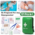121Pcs Green Mini Safe Camping Hiking Car First Aid Bag Kit Medical Emergency Kit Treatment Pack Outdoor Wilderness Survival