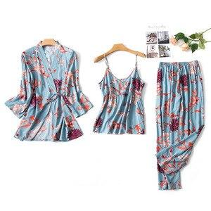 Image 3 - 2019 kadın Pijama setleri 3 adet ince spagetti kayışı pamuk Pijama çiçek baskı gevşek Pijama ev giyim Pijama