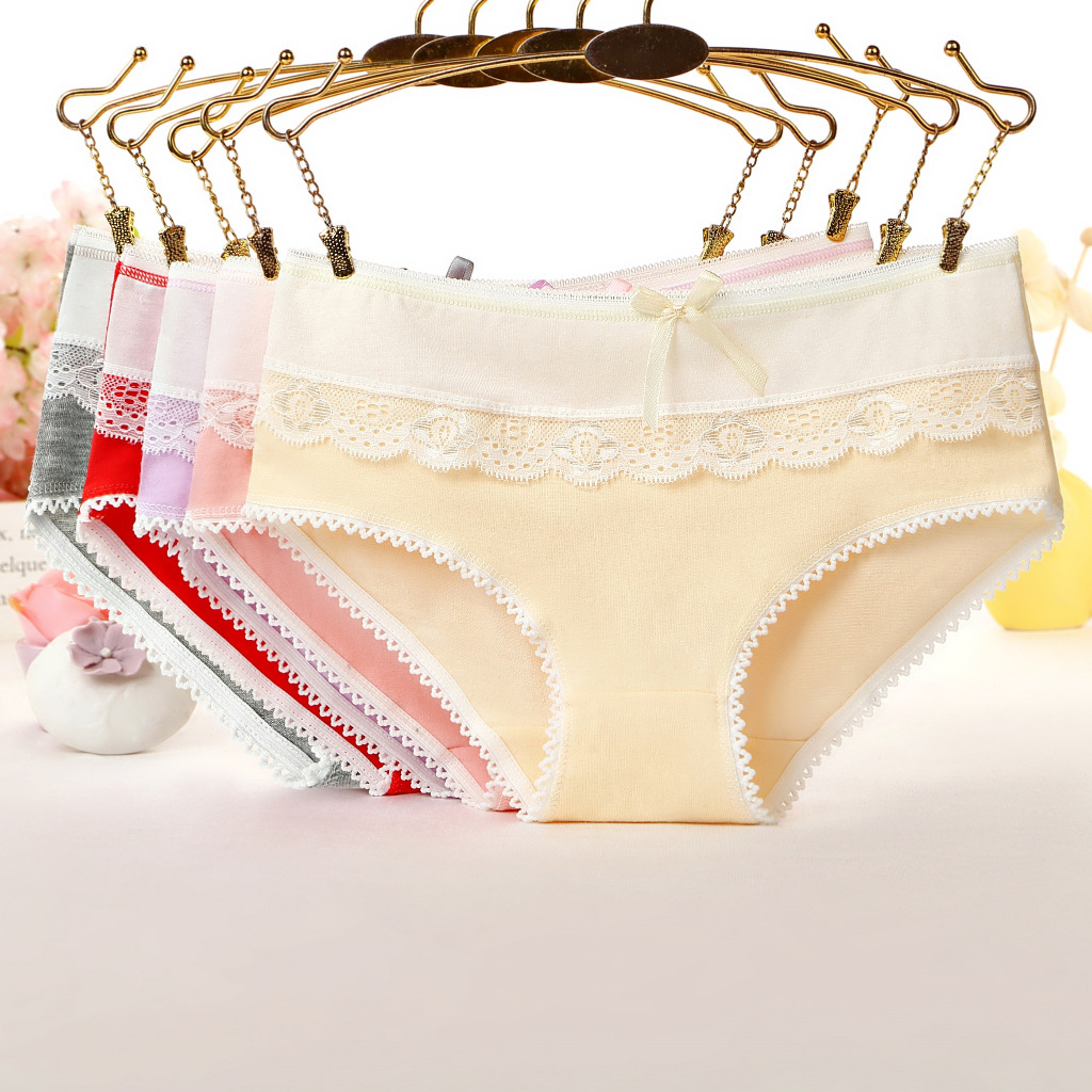 2019 New Briefs for Women Lace Cotton Sexy Lingerie   Panties   Girls Underwear Solid Color Bow Tie Underpants Ladies   Panty   Calcinha