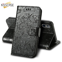 KISSCASE Flip Leather Case For iPhone X XR XS MAX 8 7 6 6S Plus Unicorn Cute 7Plus Magnetic Card Slot Stand