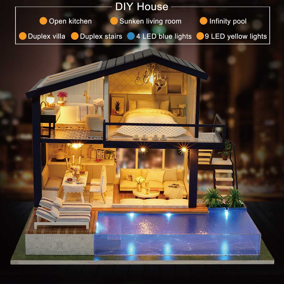 New Doll House Toy Miniature Wooden Doll House Loft With: 3D DIY LED Loft Apartments Wooden Mini Dollhouse Time