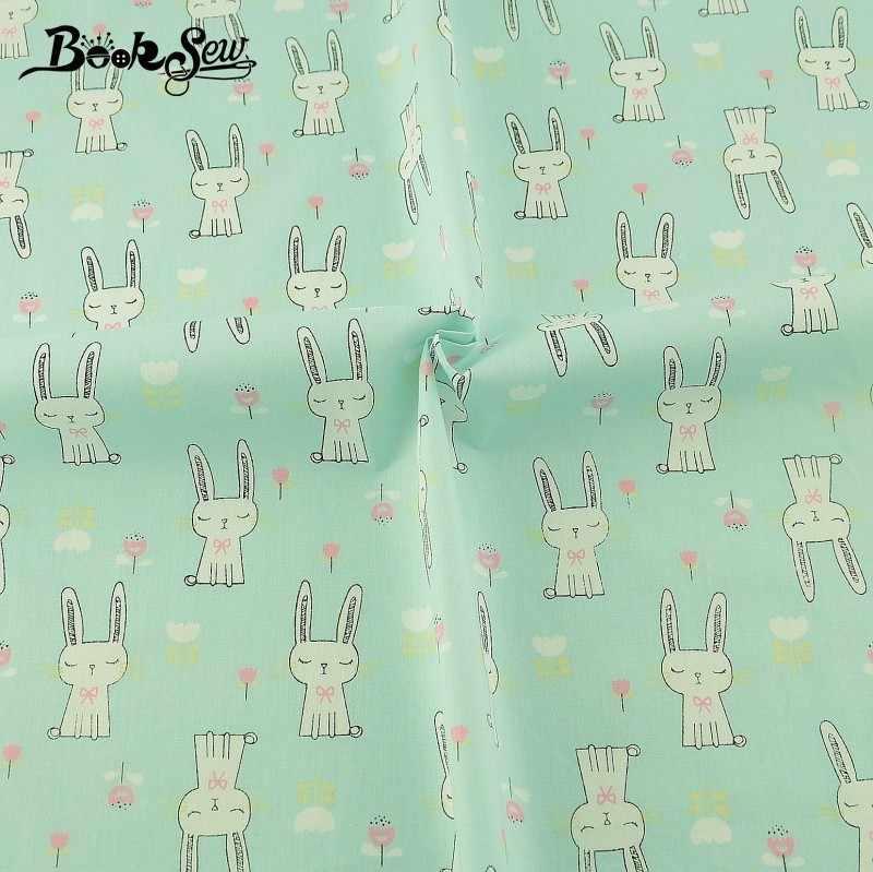 Booksew 100% Tela de sarga de algodón bonito conejo animal diseño costura Tecido de Tela acolchado sábana del bebé Patchwork muñeca de Tela