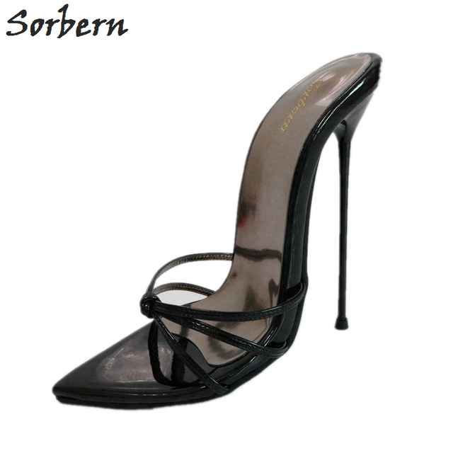 Sorbern 16Cm Super Thin Metal High Heel Slippers Women Cross Tied Strap Ladies Slides Party Shoes Woman Runway Stiletto Size 43