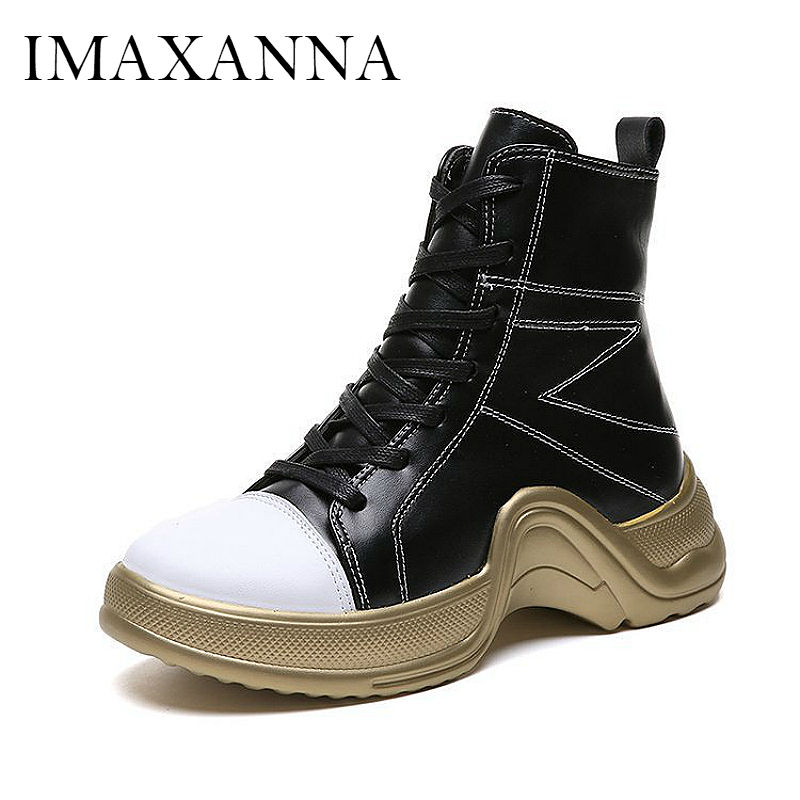 IMAXANNA Sport Women Boots 2019 Leather Lace Up Woman Sport Shoes High Top Female Chunky Sneakers Outdoor Platform Womens ShoeIMAXANNA Sport Women Boots 2019 Leather Lace Up Woman Sport Shoes High Top Female Chunky Sneakers Outdoor Platform Womens Shoe