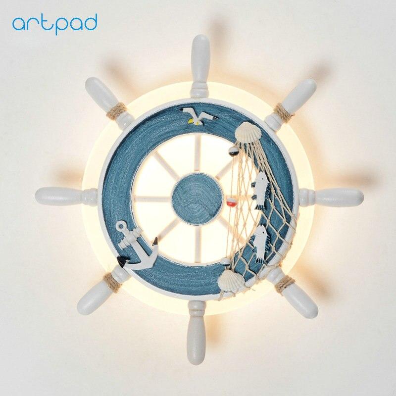 Artpad Nordic Mediterranean Rudder Beside Children Bedroom Wall Lamp Parlor Modern Creative Background Decroation Wall Led