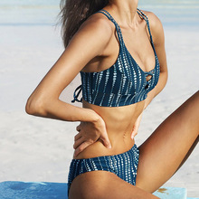Купить с кэшбэком 2019 Sexy Women Beach Swimming Bikini Bohemia Sling Cross Deep V Flex 2 Piece Bathing Suit Mujer Vintage Blue Neon Push Up Suit