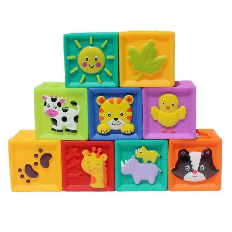 9 Pcs/set Bayi Memahami Mainan Lembut PVC Timbul Blok Bangunan Bayi Teethers Mainan