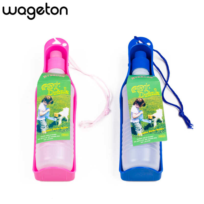 Pet Water Bottle Wageton Portable Travel Dog Dispenser Bowl Cups Walking for Puppies Small Medium Large Dogs Cats 250ml 500ml