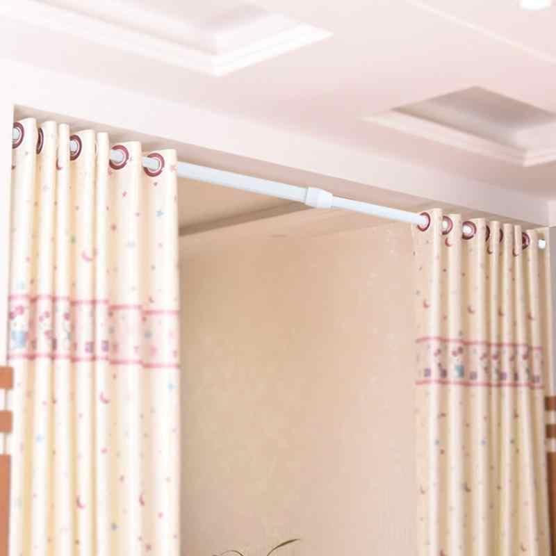 Adjustable Batang Tirai Shower Musim Semi Dimuat Ketegangan Rod Barthroom Dapat Diperpanjang Tirai Lemari Window Rail Tiang