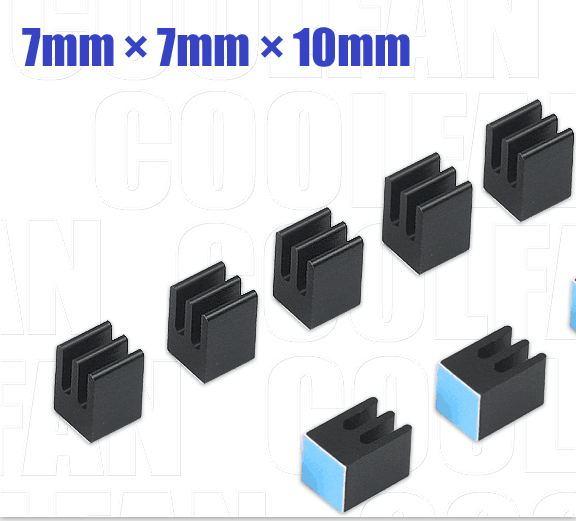 10pcs/lot  7mm length 7mm width 10mm height   High Quality Super Heat Conduction Aluminum Black Heatsink