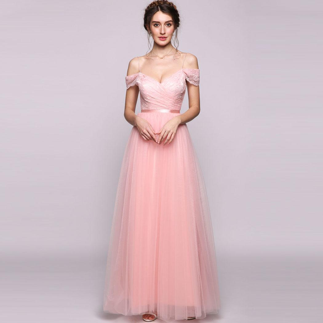 AL'OFA Long Tulle   Bridesmaid     Dress   Women Off theShoulder Floor-Length Tulle   Bridesmaid   Formal   Dresses   Wedding Party Gowns