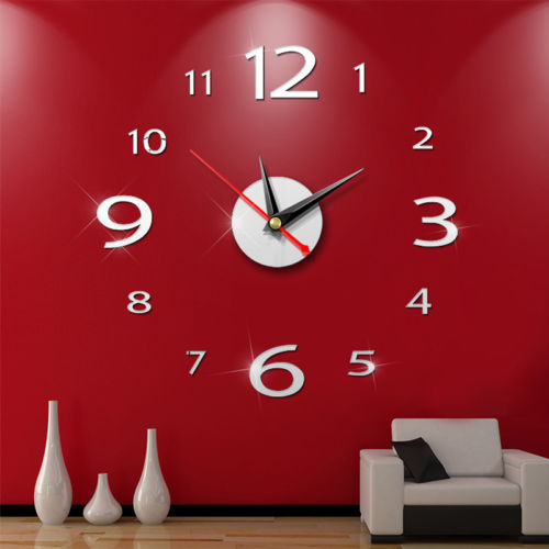 Brand New Small Acrylic Modern DIY Wall Clock 3D Mirror Surface Sticker Home Office Decor(China)