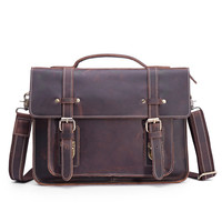 Men's briefcase first layer cowhide notebook computer bag shoulder leather business 1159