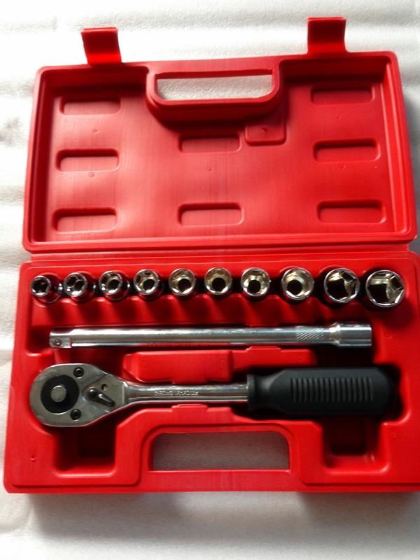 12pcs  Automobile Motorcycle Tool Box Set Socket Wrench Sleeve Suit  Auto Car Repair S Combination Bit   Kit Tool Box