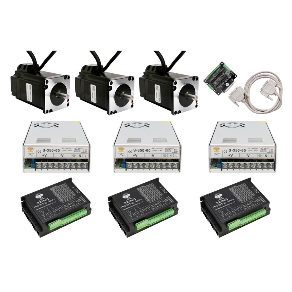 3 axis Closed-Loop Stepper motor NEMA34 101MM 5N.m 6A 1000line 34SSM8460&Servo Driver&Power Supply CNC Controller Kit