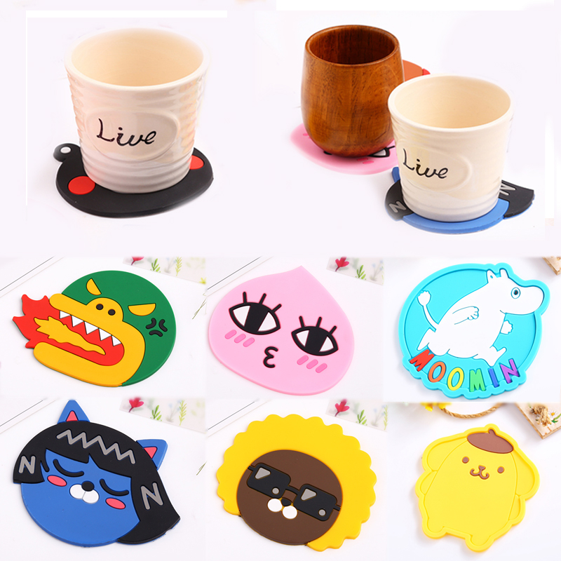 New Cartoon Placemat Bar Mug Coaster Silicone Drink Pads Cup Mat Kitchen Supplies Dining Table Kitchen Accessories 1 Pcs Animal