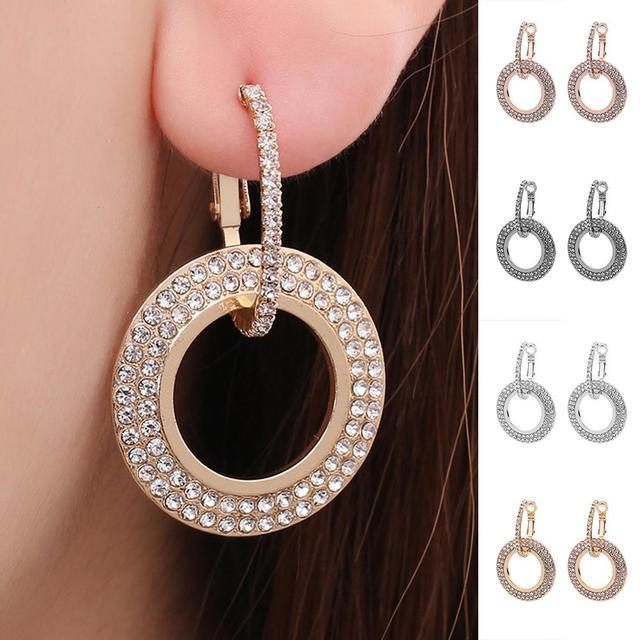 Fashion Women Rhinestone Double Circle Hoop Huggie Earrings Party Jewelry Charm Hot