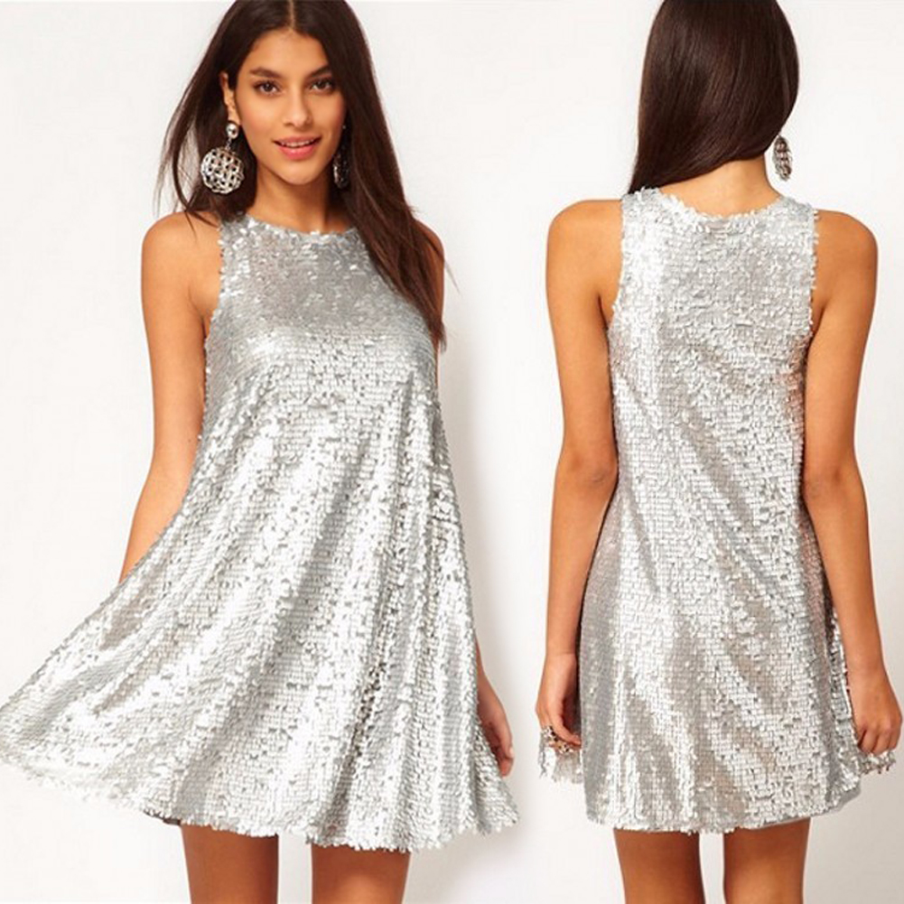 36ffb8f307609 US $17.15 36% OFF|Sexy Women Sequin Dress Vintage Swing Dress Sleeveless  1920s Evening Party Dresses female Clubwear Mini Shiny Dress 1950s  Silver-in ...