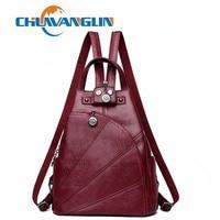 Chuwanglin vintage women leather backpack fashion school bags casual feminine Laptop backpacks travel bags C001