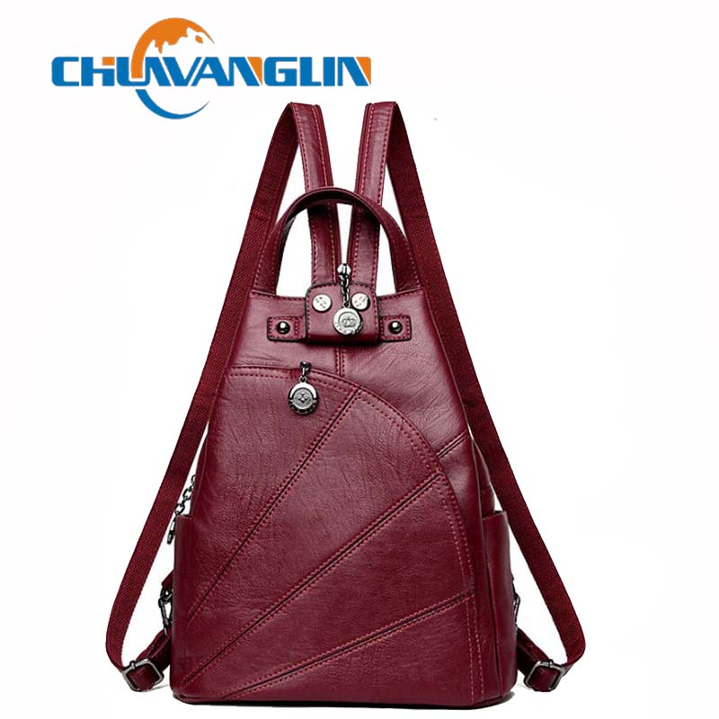 Chuwanglin vintage women leather backpack fashion school bags casual feminine Laptop backpacks travel bags C001Chuwanglin vintage women leather backpack fashion school bags casual feminine Laptop backpacks travel bags C001