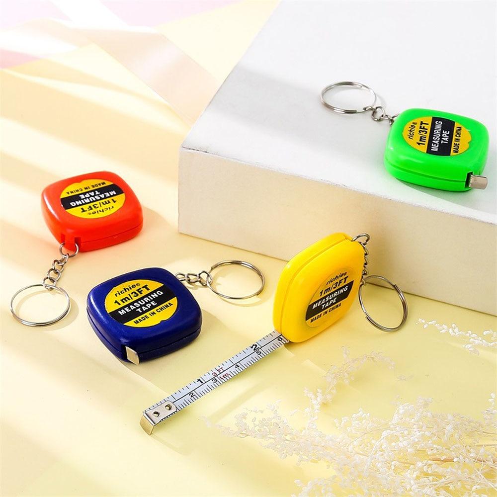 Mini Tape Measure With Key Chain Plastic Portable 1m Retractable Ruler In CA