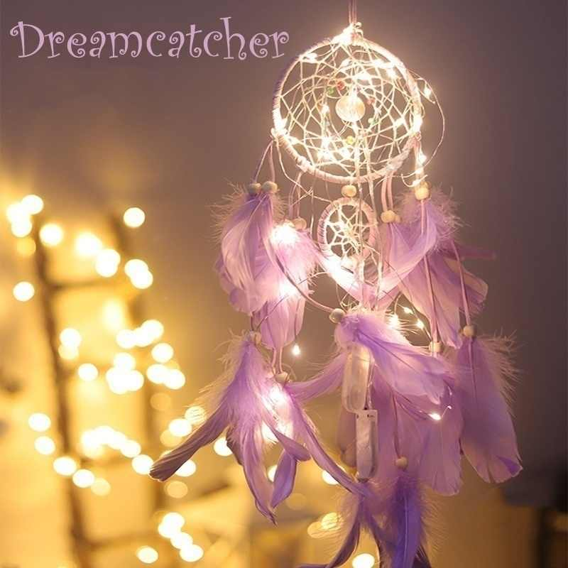 1pcs Dream Catcher WITH Night Light Feathers Light Portable Handmade Night Light Wall Hanging Decoration Room Home Deco