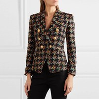 New Runway Women Double breasted Houndstooth Tweed Blazers Autumn Lady Lapel Long Sleeve Coats