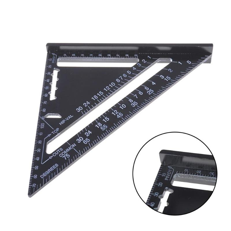 7inch 12inch Black Aluminum Alloy Metric Triangle Ruler for Woodworking Tools Speed Square Protractor Measuring Tool Ruler