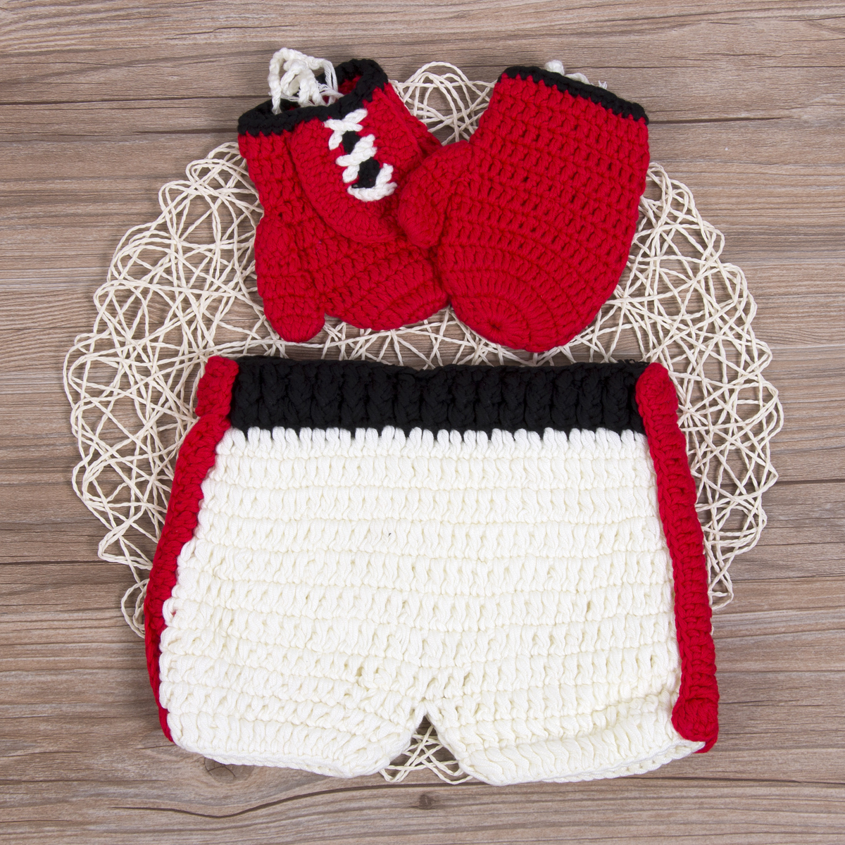 Xmas Newborn Baby Girl Boy Crochet Knit Pants Gloves Costume Photo Photography Props Outfits Warm Clothes Set 2pcs Baby