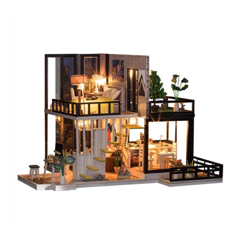 Assemblage bâtiment modèle jouet maison de poupée en bois maison de poupée miniature à monter soi-même Kit de meubles artisanat cadeau d'anniversaire pour 3 + Y enfants - 2